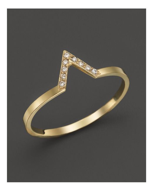 Zoe Chicco | Metallic 14k Yellow Gold Pave Diamond Small V Ring | Lyst