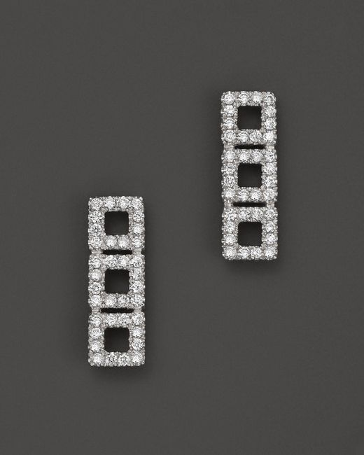 Dana Rebecca   14k White Gold Allison Joy Square Earrings With White Diamonds   Lyst