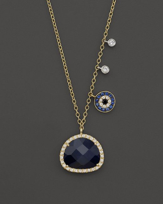 Meira T | Metallic 14k Yellow Gold Sapphire Evil Eye Disc Necklace With 14k White Gold Side Bezels, 16"