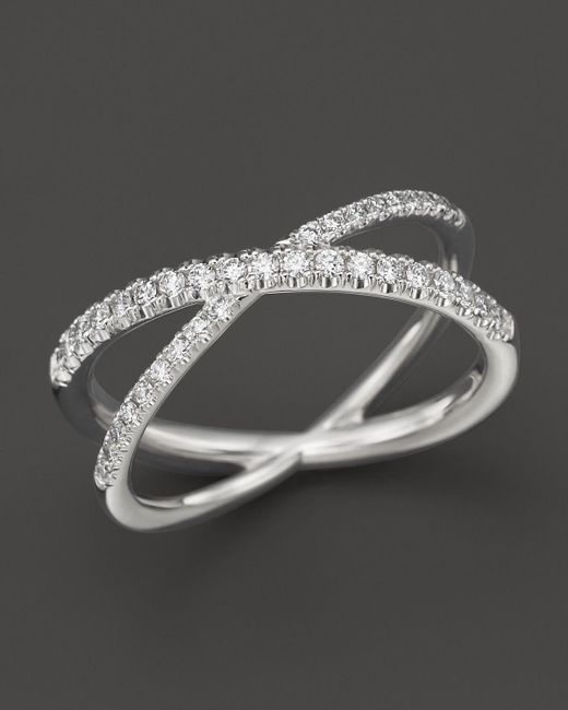 """Roberto Coin   18k White Gold Diamond Crossover """"x"""" Ring, .28 Ct. T.w.   Lyst"""
