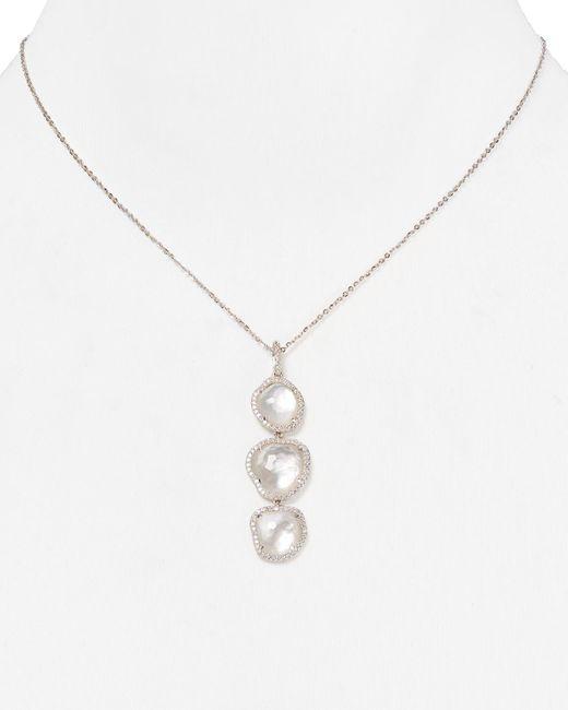 "Nadri | Metallic Sterling Silver & Mother Of Pearl Triple Drop Pendant Necklace, 16"" | Lyst"