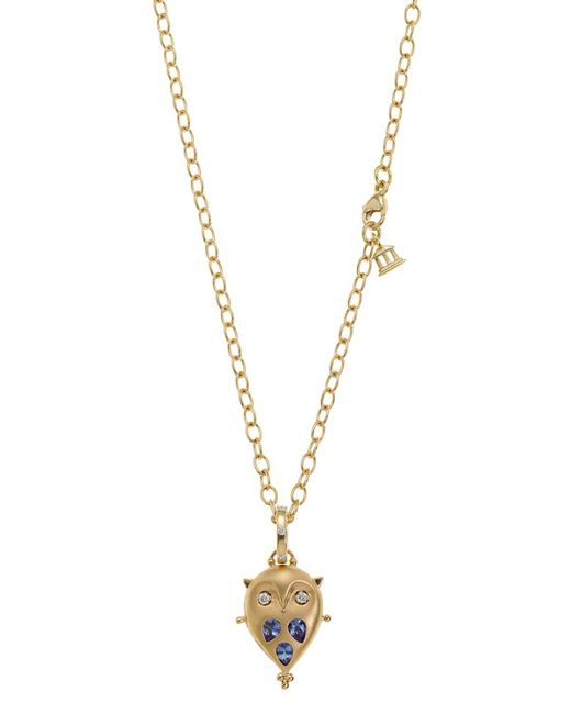 Temple St. Clair | Blue 18k Gold Small Owl Locket With Tanzanite And Diamonds | Lyst
