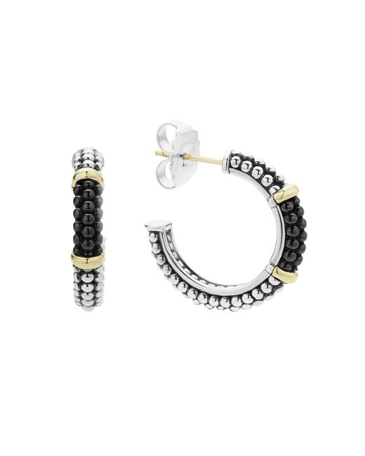 Lagos   Multicolor Black Caviar Ceramic 18k Gold And Sterling Silver 2 Station Hoop Earrings   Lyst