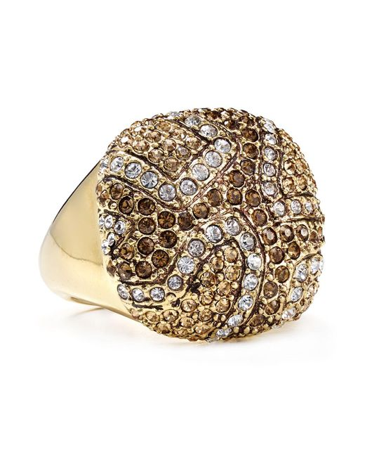 ABS By Allen Schwartz | Metallic Pave Square Ring | Lyst