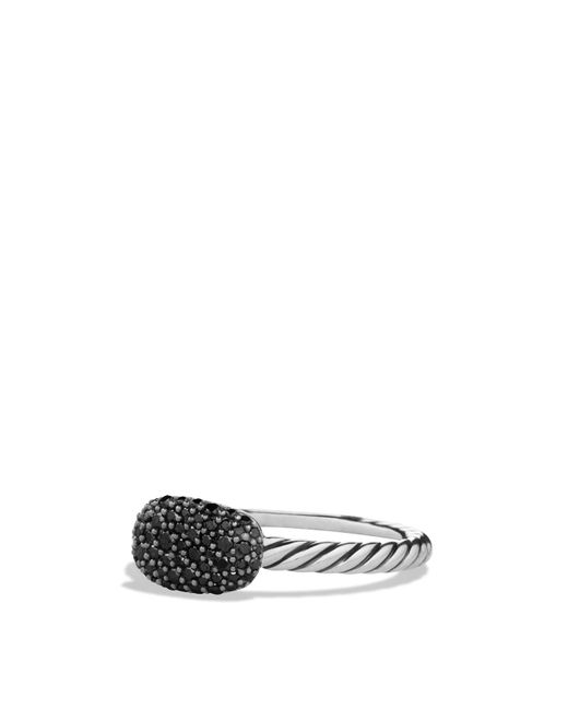 David Yurman | Metallic Petite Pavé Cushion Ring With Black Diamonds | Lyst