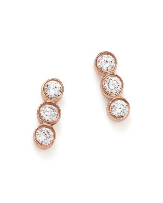 Zoe Chicco | Multicolor 14k Rose Gold Triple Diamond Bezel Stud Earrings | Lyst