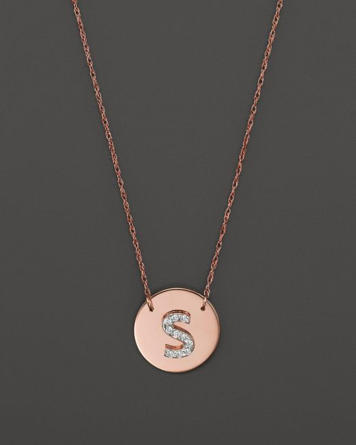 Jane Basch | Pink 14k Rose Gold Circle Disc Pendant Necklace With Diamond Initial, 16"