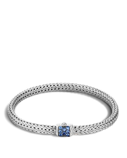 John Hardy | Classic Chain Sterling Silver Lava Extra Small Bracelet With Blue Sapphires | Lyst
