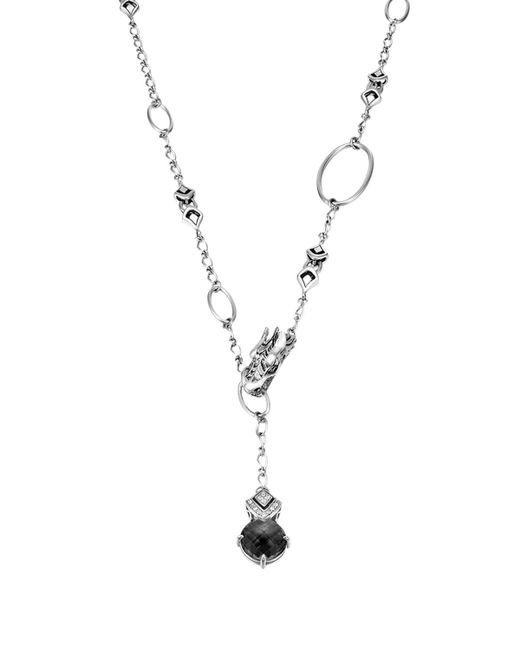 John Hardy | Metallic Sterling Silver Naga Drop Pendant On Sautoir Necklace With Black Chalcedony And White Sapphires, 45"