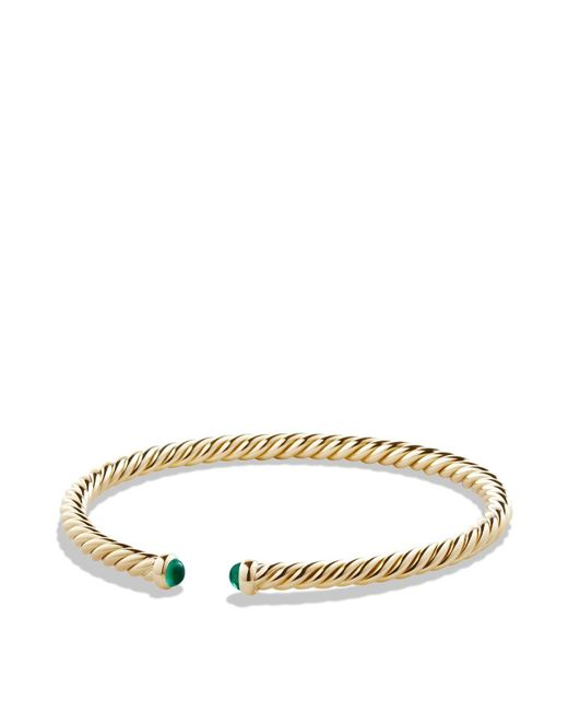 David Yurman | Metallic Precious Cable Pavé Cablespira Bracelet With Emeralds In Gold | Lyst