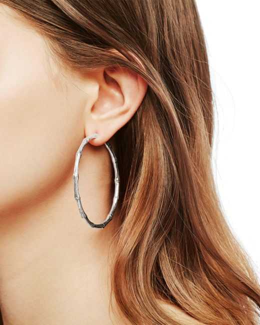 John Hardy Metallic Bamboo Large Continuous Hoop Earrings