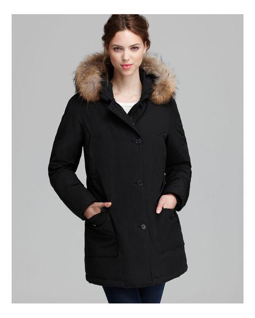 Woolrich | Black Parka - Arctic Fur Trim | Lyst