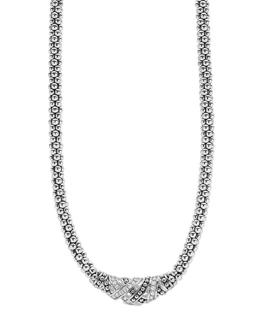 Lagos | Metallic Sterling Silver Embrace Diamond Station Rope Necklace, 16"