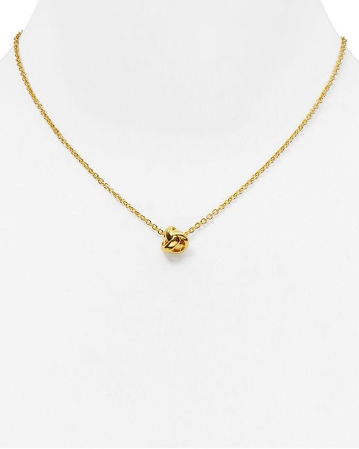 kate spade new york | Metallic Dainty Sparklers Knot Pendant Necklace, 17"