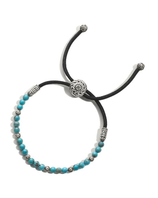 John Hardy   Blue Men's Sterling Silver Classic Chain Round Beads Bracelet With Turquoise for Men   Lyst