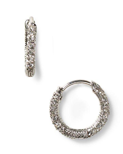 Nadri | Metallic Pave Huggie Hoop Earrings | Lyst