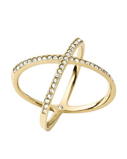 Michael Kors | Metallic Pavé X Ring | Lyst