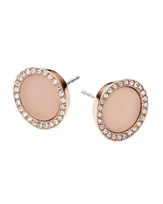 Michael Kors | Pink Rose Gold Tone Blush Acetate Clear Pave Disc Stud Earring | Lyst