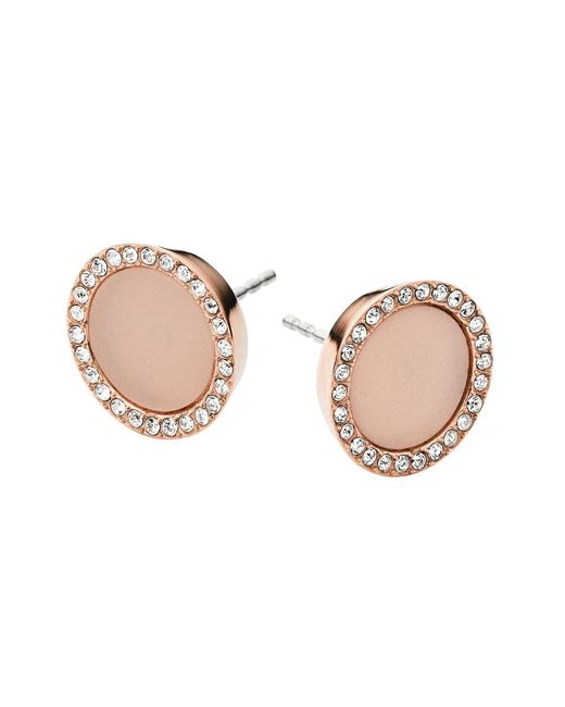 Michael Kors | Pink Pavé Stud Earrings | Lyst
