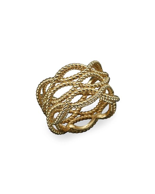 Roberto Coin | Metallic 18k Yellow Gold Triple Row Twisted Ring | Lyst