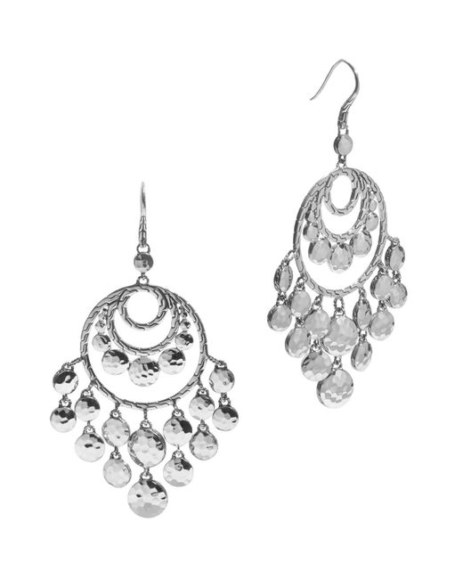 John Hardy | Metallic Women's Palu Silver Disc Chandelier Earrings | Lyst