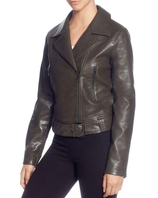 T Tahari - Green Faux-leather Moto Jacket - Lyst