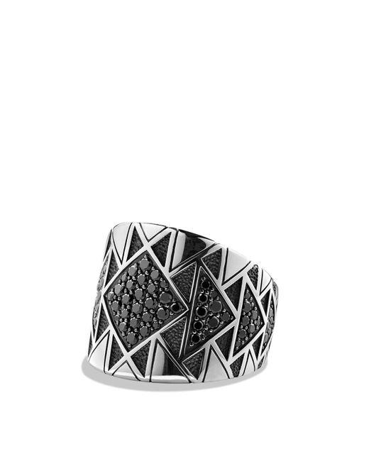 David Yurman | Metallic Frontier Signet Ring With Black Diamonds | Lyst