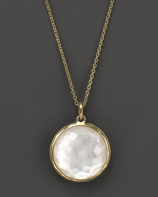 "Ippolita | White 18k Lollipop Medium Round Pendant Necklace In Mother–of–pearl, 16-18"" | Lyst"