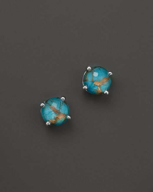 Ippolita   Blue Sterling Silver Rock Candy Mini Stud Earrings In Clear Quartz And Bronze Turquoise   Lyst