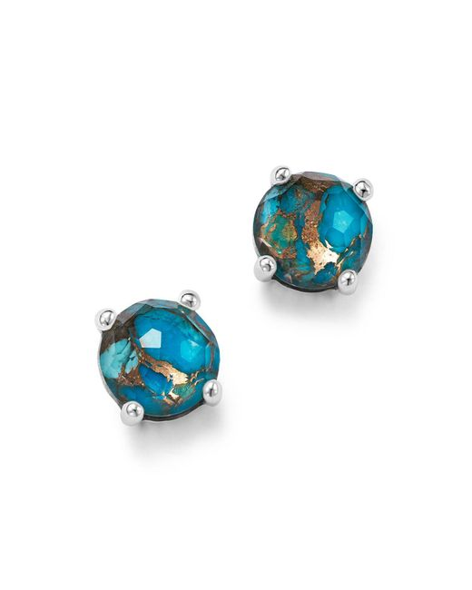 Ippolita | Metallic Sterling Silver Rock Candy® Mini Stud Earrings In Clear Quartz And Bronze Turquoise | Lyst