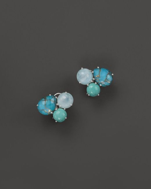 Ippolita   Sterling Silver Rock Candy Cluster Stud Earrings In Blue Multi   Lyst