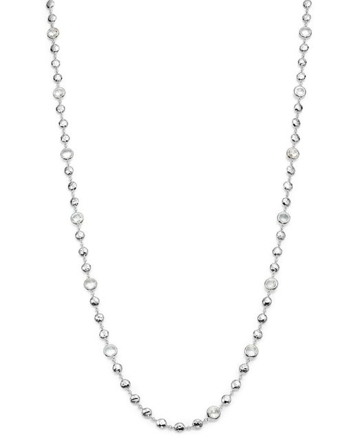 Ippolita | Metallic Sterling Silver Rock Candy Long Multi Stone Necklace In Clear Quartz, 40"