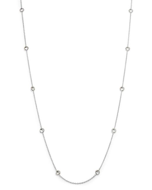 Ippolita | Metallic Sterling Silver Rock Candy Long Stone Station Necklace In Clear Quartz, 48"