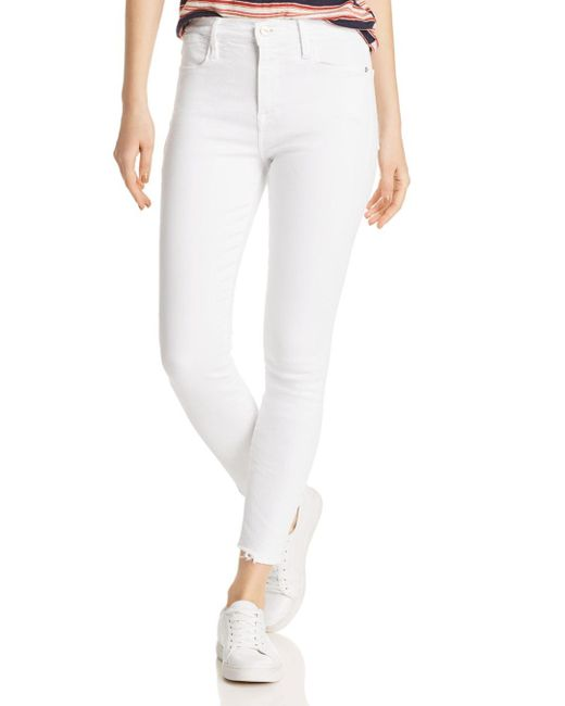 FRAME - White Le High Frayed Cropped Skinny Jeans In Blanc Ave - Lyst