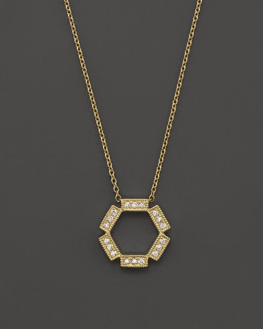 "Dana Rebecca   Metallic Diamond & 14k Yellow Gold Hexagon Necklace, 16""   Lyst"