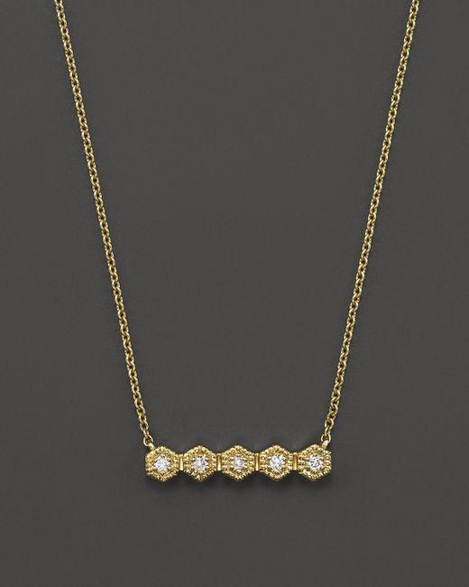 "Dana Rebecca | Metallic 14k Yellow Gold Mini Hexagon Bar Necklace With Diamonds, 16"" | Lyst"
