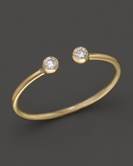 Mizuki | Metallic 14k Yellow Gold Open Ring With Diamonds | Lyst