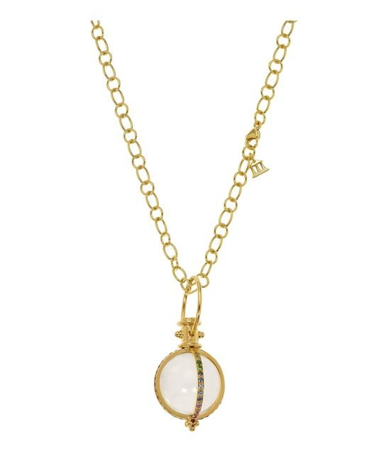 Temple St. Clair | Metallic 18k Yellow Gold Classic Amulet With Rock Crystal And Mixed Pavé Sapphires | Lyst