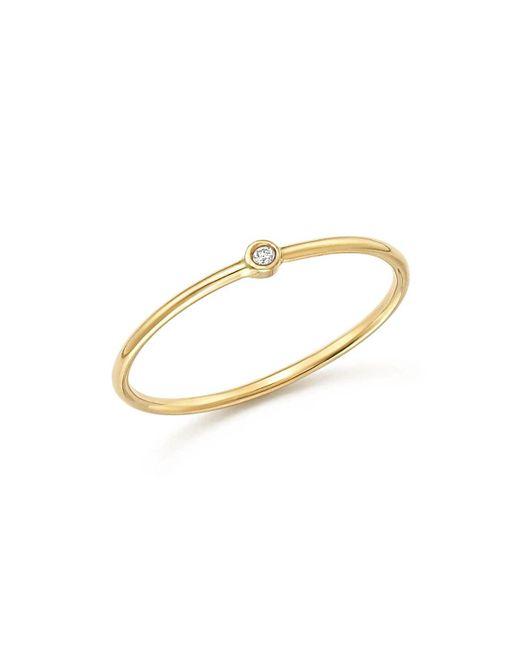 Zoe Chicco | Metallic 14k Yellow Gold Thin Ring With Diamond | Lyst