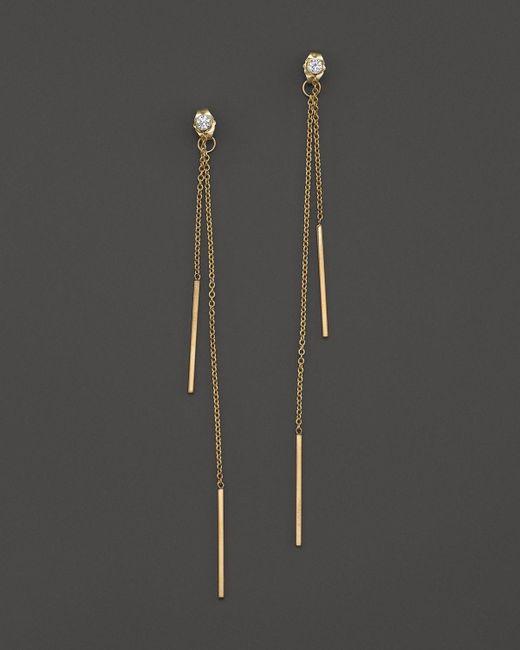 Zoe Chicco   Metallic 14k Yellow Gold Bar Drop Earrings With Diamonds   Lyst