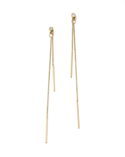 Zoe Chicco | Metallic 14k Yellow Gold Bar Drop Earrings With Diamonds | Lyst