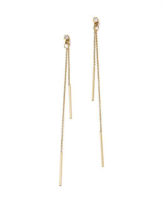 Zoe Chicco | Metallic 14k Yellow Gold Bar Drop Earrings With Diamonds | Lyst