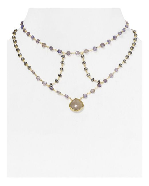 Ela Rae | Gray Cage Moonstone Statement Necklace, 14"