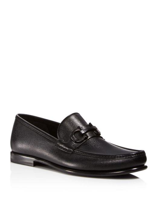 Ferragamo - Black Men's Crown Gancini Bit Loafers for Men - Lyst