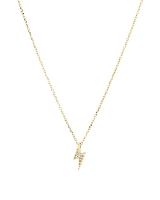 Aqua Metallic Bolt Pendant Necklace In 18k Gold - Plated Sterling Silver