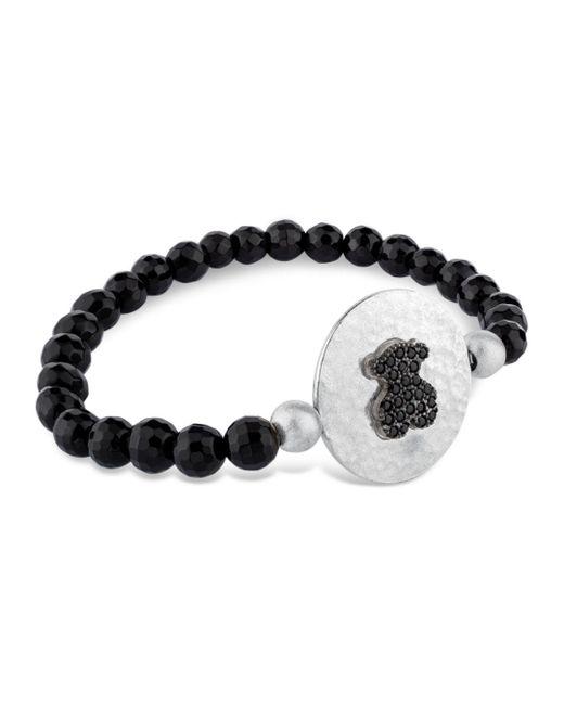 Tous - Black Sterling Silver Bear Plaque Beaded Bracelet - Lyst