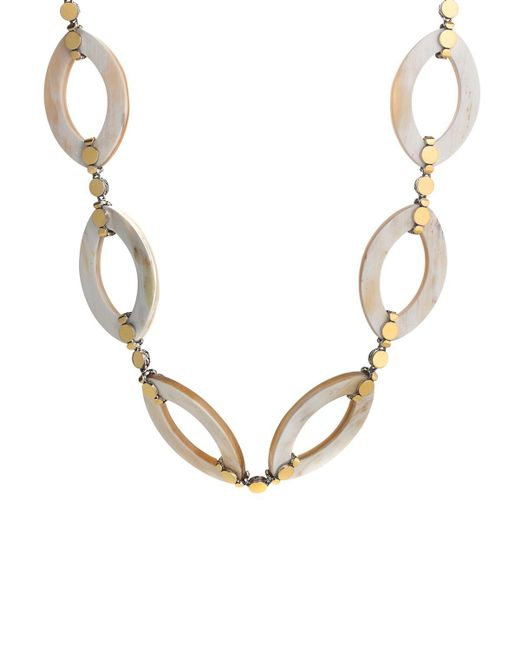 """John Hardy   Metallic Dot Gold & Silver Link Necklace With Buffalo Horn, 36""""   Lyst"""