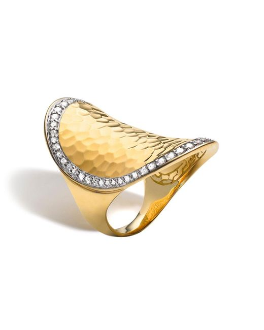 John Hardy | Metallic Palu 18k Gold & Diamond Pave Oval Saddle Ring, .59 Ct. T.w. | Lyst