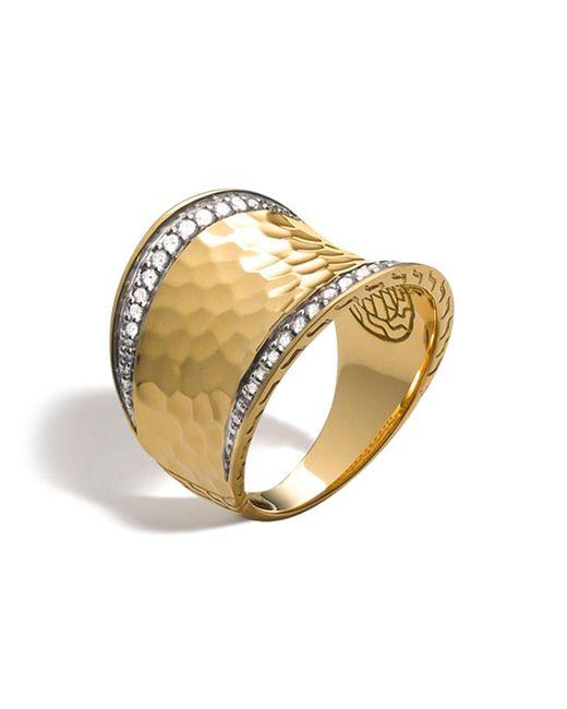 John Hardy   Metallic Palu 18k Gold & Diamond Pave Small Saddle Ring, .27 Ct. T.w.   Lyst