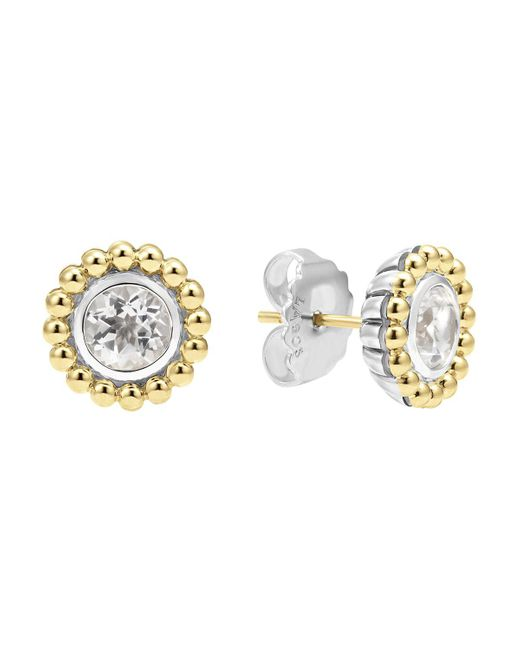 Lagos | Sterling Silver And 18k Gold Stud Earrings With White Topaz | Lyst